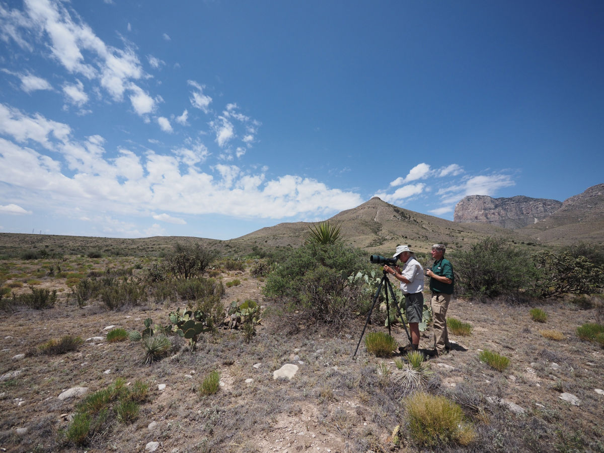 The 115-mm objective module in Texas 2/3 – birding at Guadalupe Mountains National Park B/ - Joel Simon and Clay Taylor with the 115-mm objective module