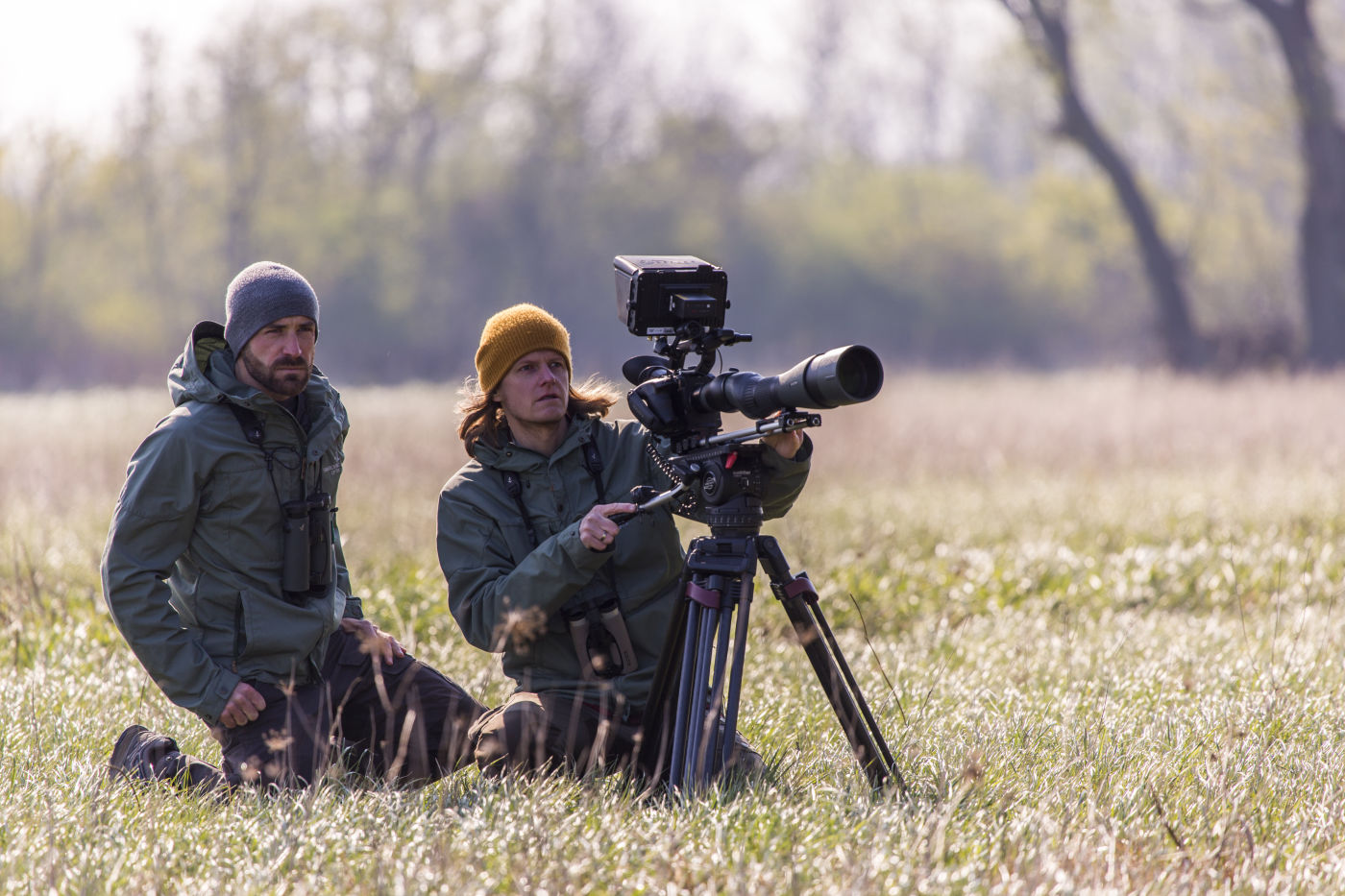 "Mario Kreuzer and Leander Khil digiscoping video footage with the STX for their documentary ""Kestrels don't read scripts"" near Vienna, Austria."