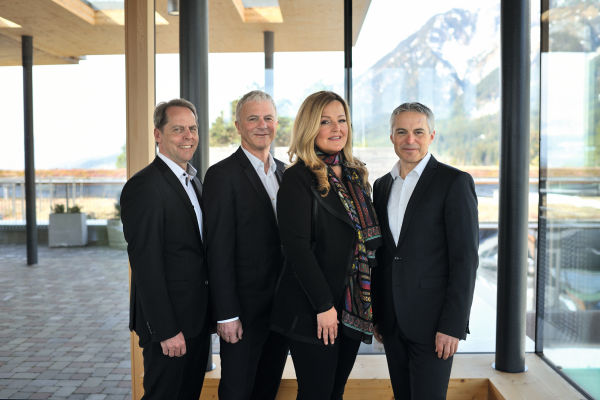The four members of the Management Board of SWAROVSKI OPTIK, Thomas Saller, Gerd Schreiter, Carina Schiestl-Swarovski, Stefan Hämmerle