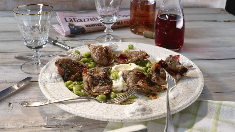 Saltimbocca of wild boar with broad beans in sage butter with celery mash