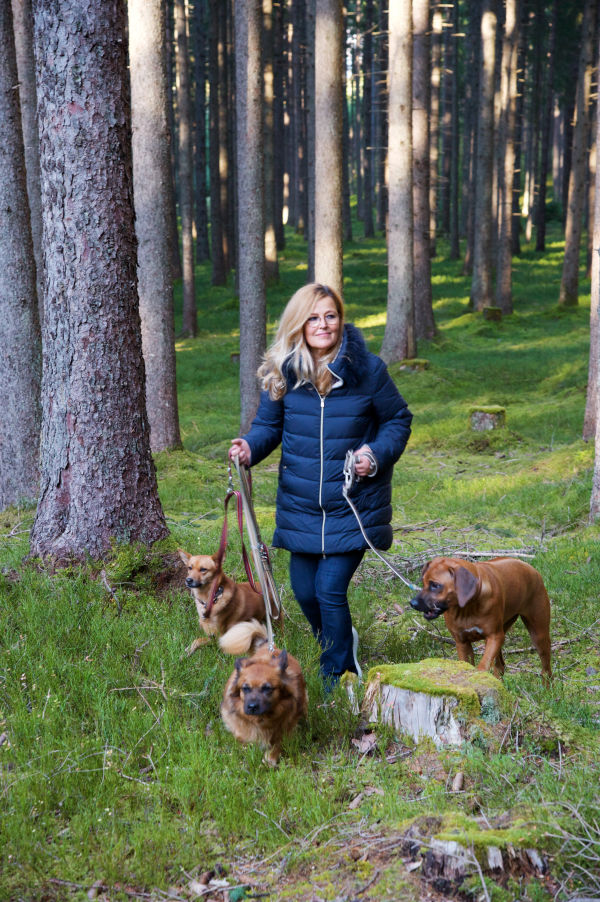 Carina Schiestl-Swarovski - walking dogs - forest - front - C 336 bearb