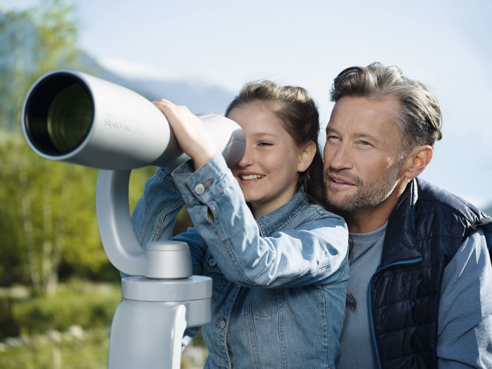 The ST Vista outdoor spotting scope provides breathtaking viewpoints in the garden of Swarovski Crystal Worlds.