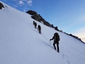 Wolfgang Schwarz and his party ascending Mount Burns. The path to reach the Himalayan tahr's natural habitat is hard.