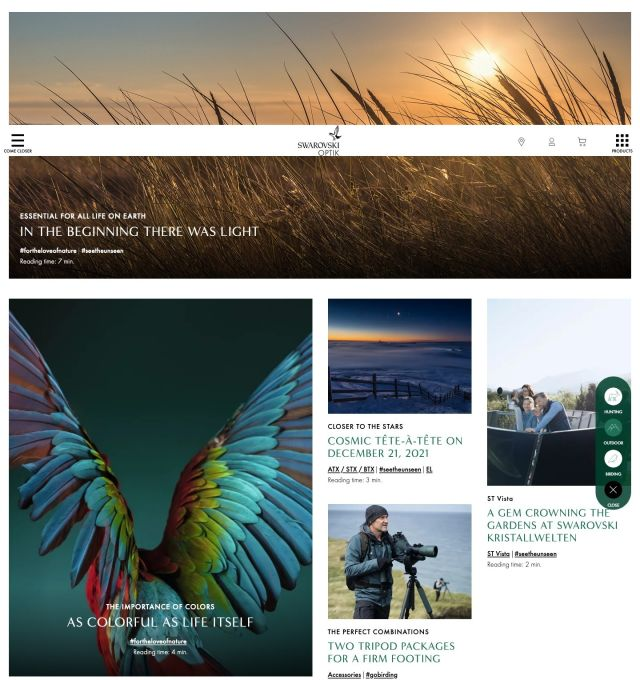 Informative, inspiring and versatile - this is how the new SWAROVSKI OPTIK website presents itself.