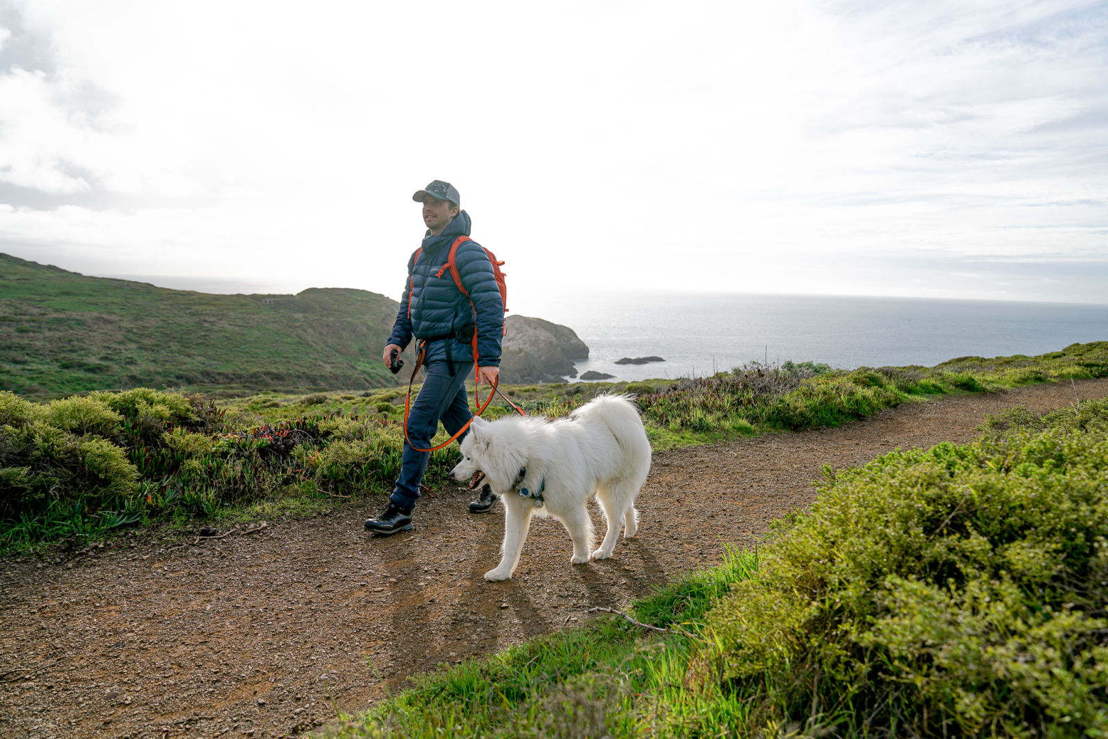 Out and about in the Marin Headlands, San Francisco - Charles Post with his dog and the new SWAROVSKI OPTIK CL Pocket binoculars