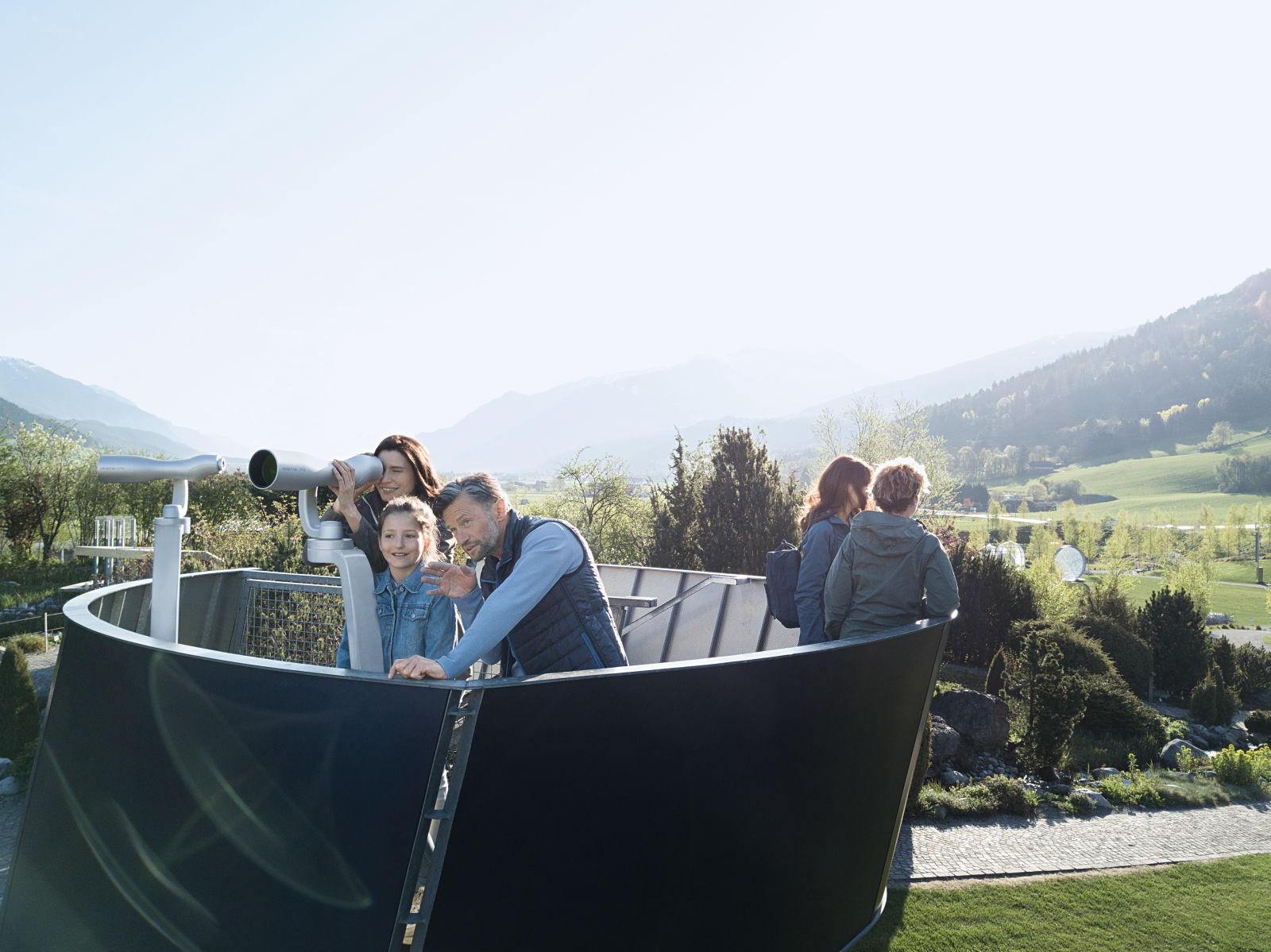 Visitors at Swarovski Crystal Worlds in Wattens, Tyrol can enjoy the breathtaking view through two ST Vista outdoor spotting scopes.