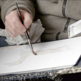 #gobirdingvlog Episode 2: Leander Khil meets the wildlife illustrator Szabolcs Kókay - drawing brush