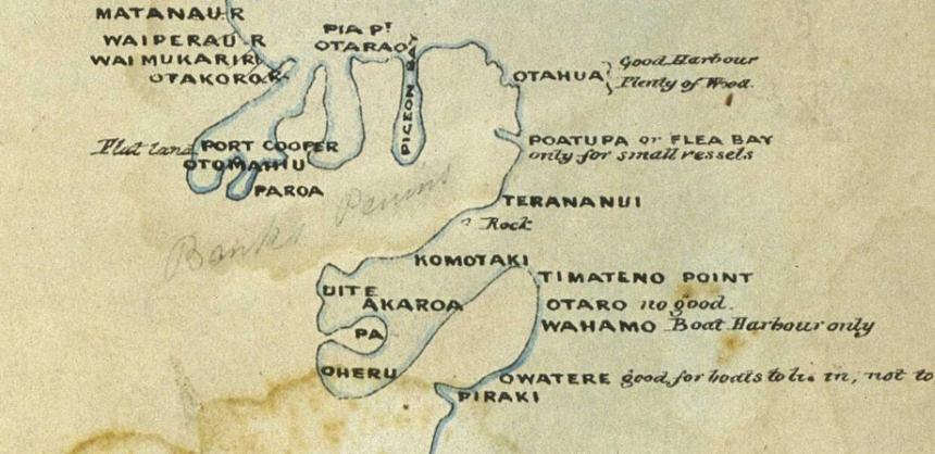 Hand drawn map showing Banks Peninsual.