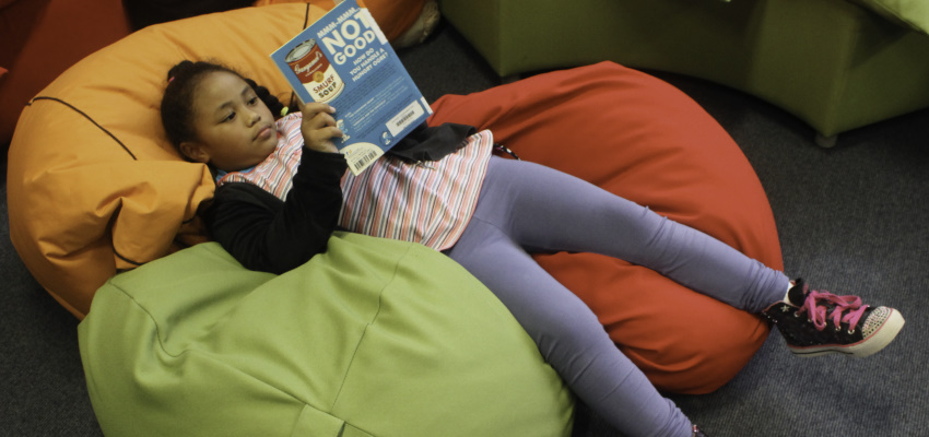Enjoy a good book in a beanbag.
