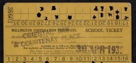 Wellington Corporation Tramways school ticket from 1939. The ticket has been clipped for the days it has been used.