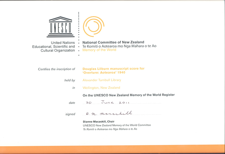 signed certificate from UNESCO to Alexander Turnbull library.