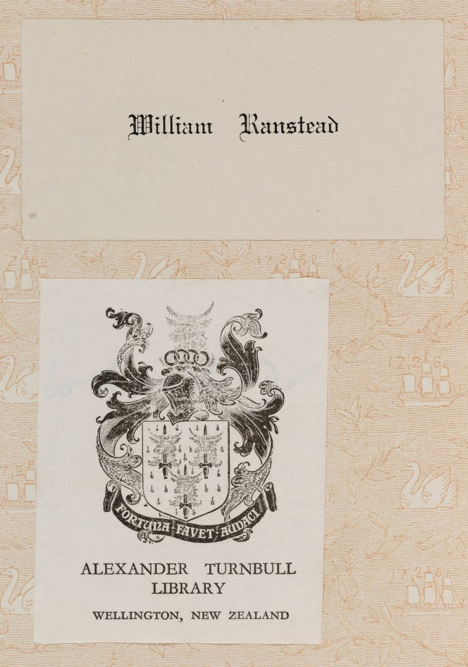 Ranstead bookplate attached to a book's inner papers, along with Alexander Turnbull's plate.
