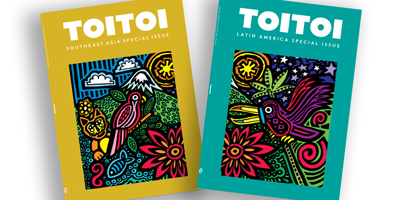 Image showing 2 Toitoi special issue journal covers with colourful illustrations