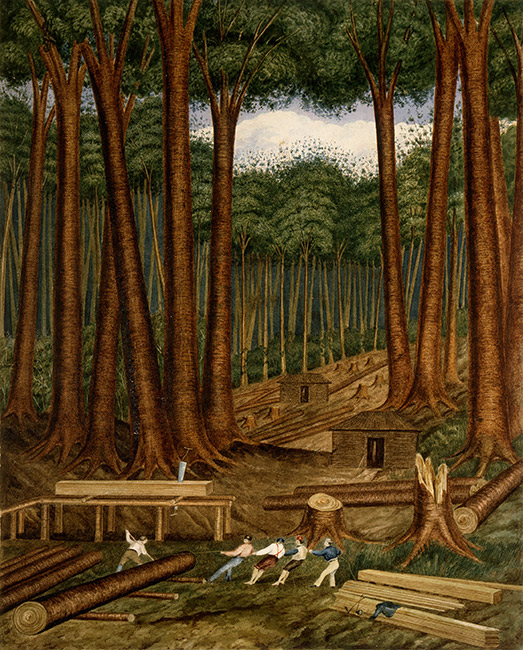 *Kauri Forest, Wairoa River* 1839 by Charles Heaphy. NewZealand's high-quality timber was sought after in Britain and Australia. Māori and Pākehā set up joint ventures to export it. Boat-building started here, too. This painting shows kauri being moved by ropes in front of the saw-pit. There are tall kauri surrounding stumps and two millers' huts.  [Kauri Forest](/files/schools/hm74-kauri-forest-english.mp3)