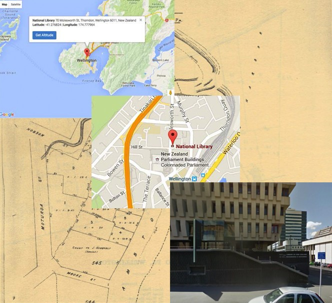 Different maps and images of the National Library, illustrating distinctions between, space, place, location, and site.