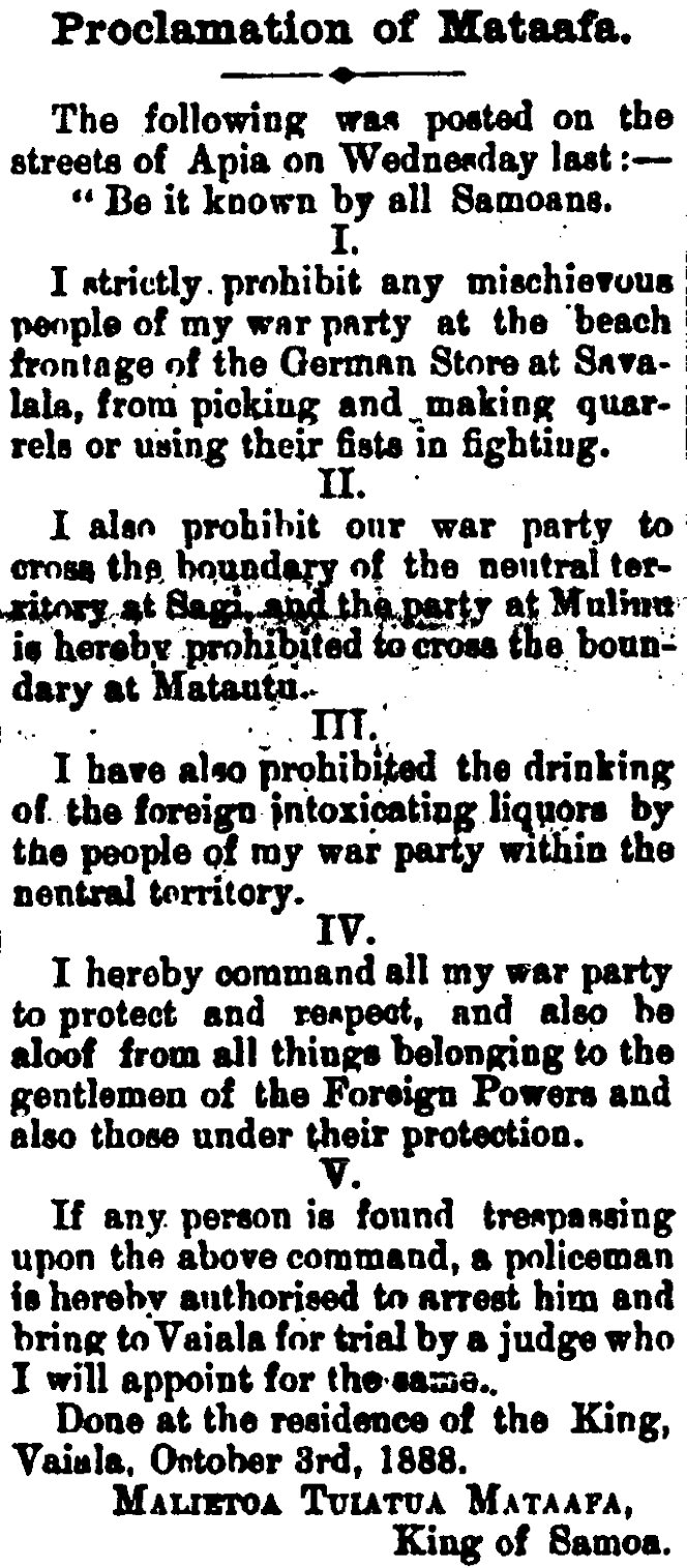 A newspaper article about Mataafa's Proclamation upon being coronated.