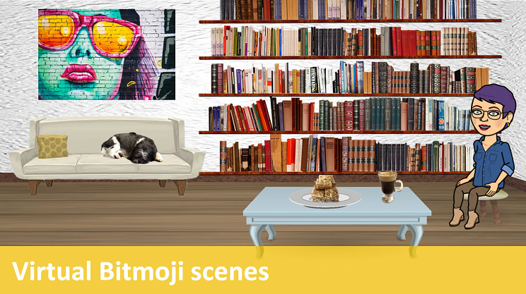 Bitmoji virtual scene featuring a purple-haired librarian, a bookshelf, cake, and coffee.