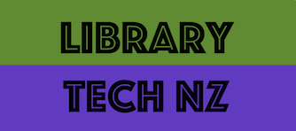 LIBRARY TECH NZ text on green and purple vertical colour block background