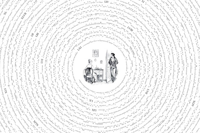 Diagram of all the punctuation marks in Austen's Pride and Prejudice, displayed sequentially in a spiral.