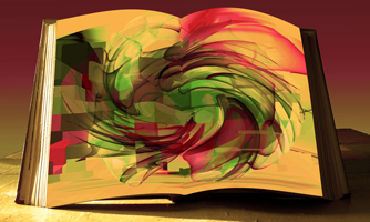 Open book with colours swirling on page