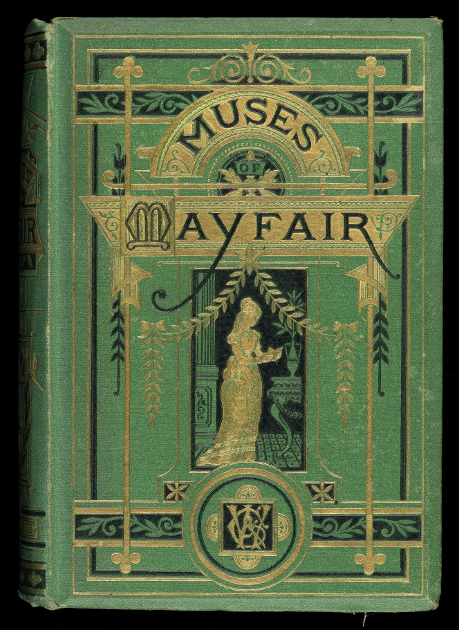Cover of The Muses of Mayfair, with lots of gilded illustration.