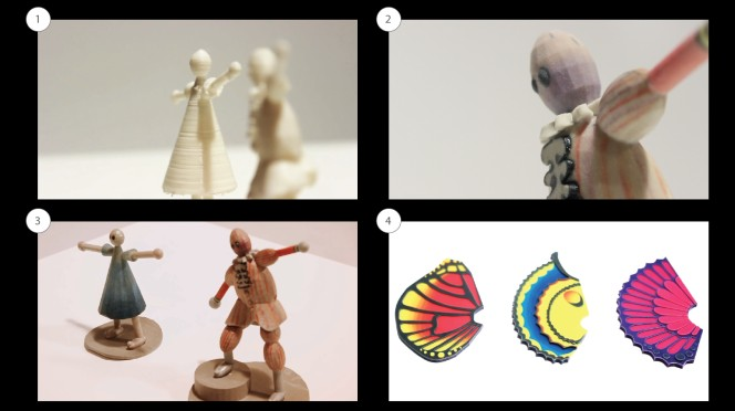 Jenden figures in different media and 3D printed butterfly wings.