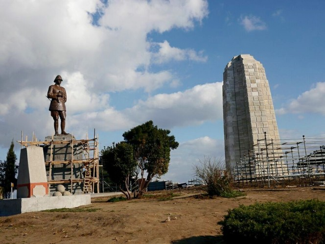 Memorials cleaned and repaired atop Chunuk Bair, and the statue of Mustafa Kemal Ataturk on the left.