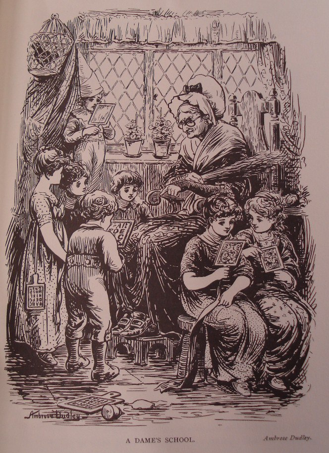 Woodcut of children reading from hornbooks in a Dame School.