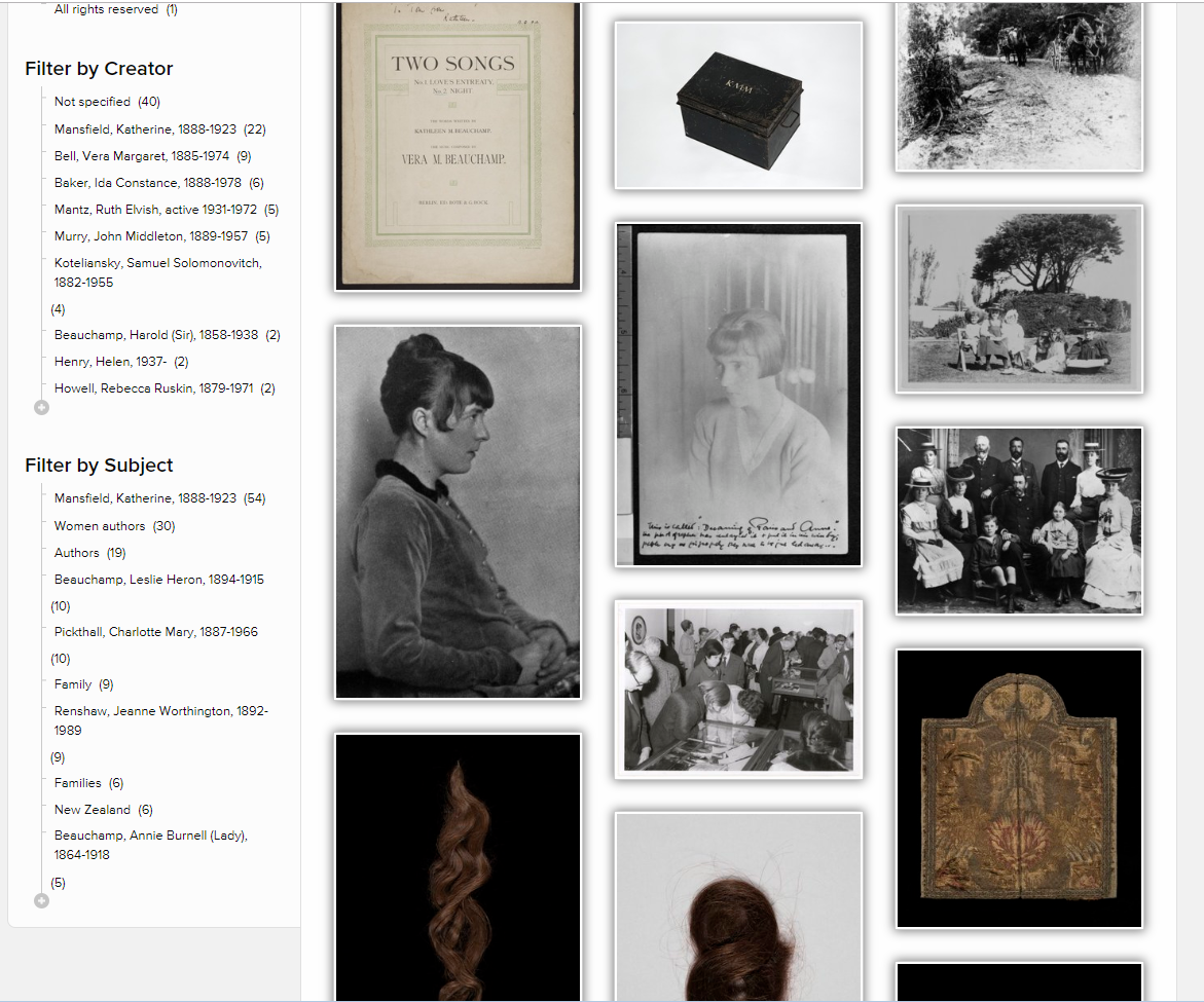 Screenshot of gallery view from NLNZ website of Mansfield images