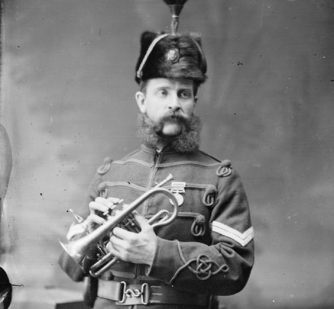 Unnamed bandsman in the uniform of the Wanganui Rifle Volunteers, ca.1856-1889.