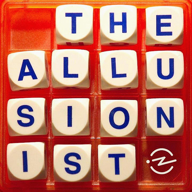 Dice with letters on them spelling out 'The Allusionist'.