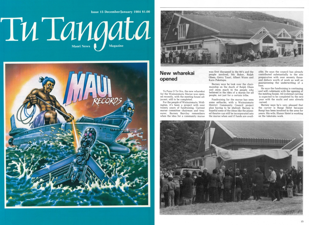Cover of Tu Tangata showing Maui fishing from his waka and pulling a carving from the ocean.
