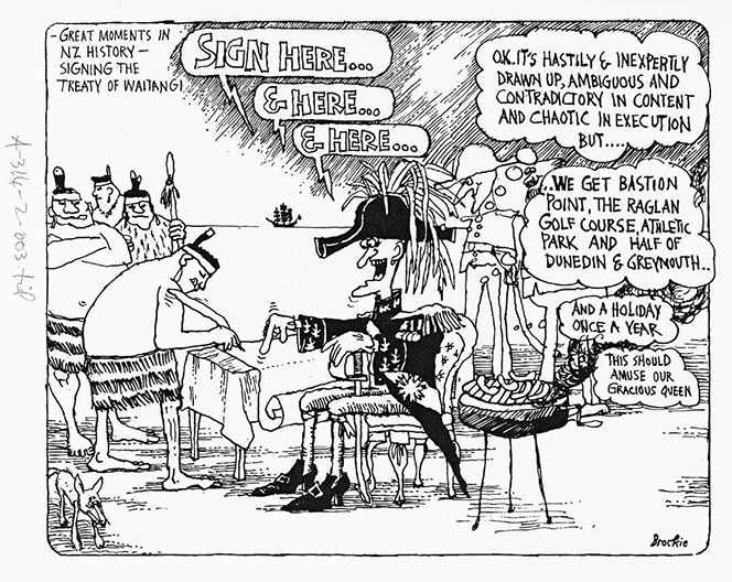Bob Brockie Cartoon showing Māori signing a document and Europeans being gleeful about the deal they are getting and noting it is unfair.
