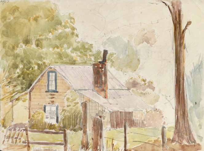 Haylock, Arthur Lagden, 1860-1948. (Haylock, Arthur Lagden) 1860-1948 :Mill Cottage Grehan Valley Akaroa (1919?). Ref: A-157-007