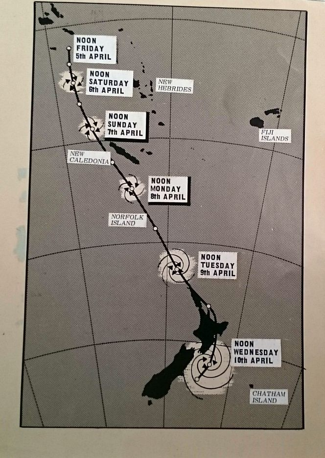 The path of tropical cyclone Giselle on 10 April 1968.