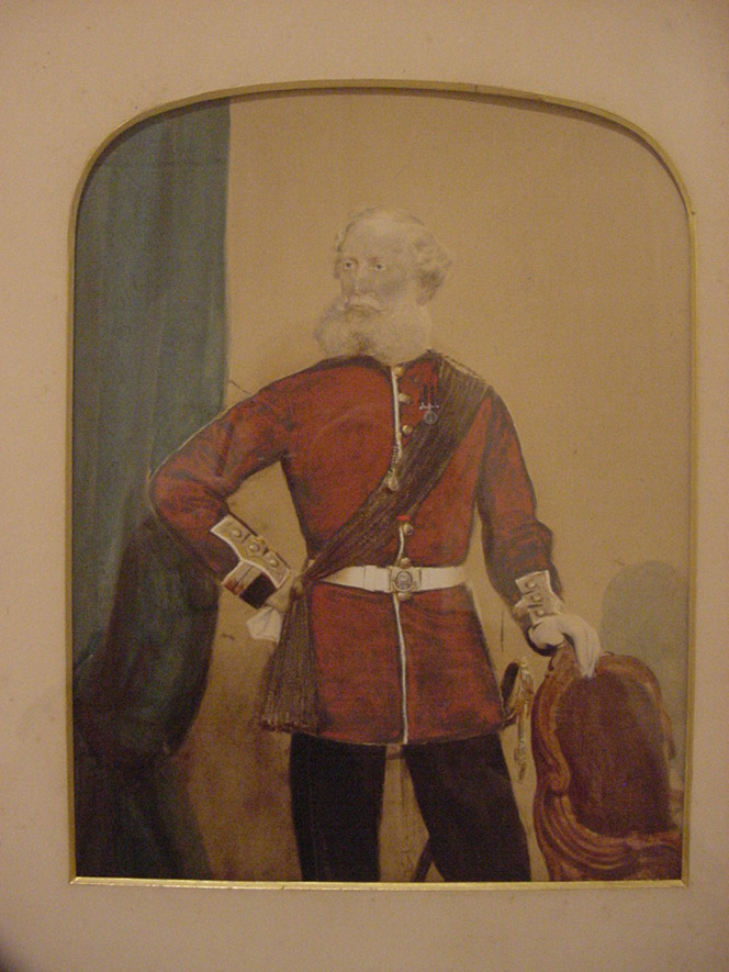 A formal painting of Cyprian Bridge dressed in his army uniform. He is standing with his hand on a chair.