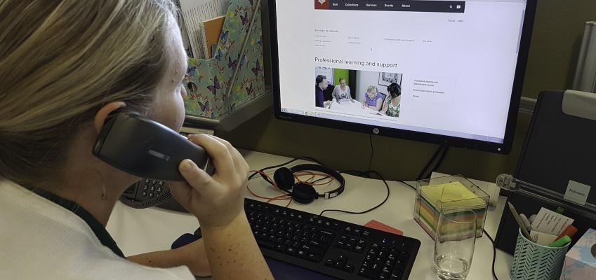 Facilitator providing school library advice and support.