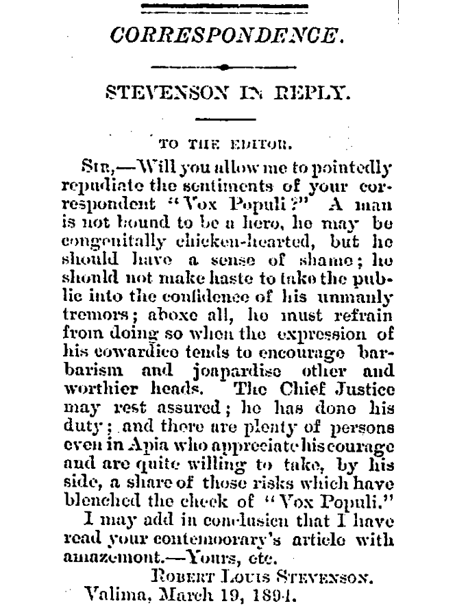 Robert Louis Stevenson's letter to the Editor. Headline reads 'Sir - will you allow me to pointedly repudiate the sentiments of your correspondent 'Vox Populi'?.