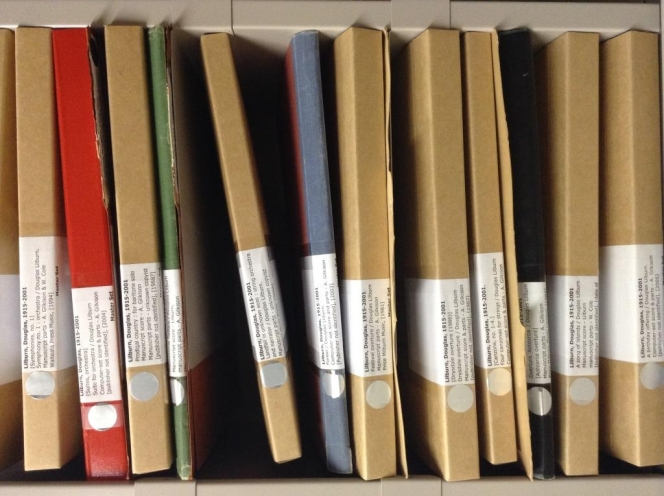 A few of the many Douglas Lilburn scores in the Orchestral Music Hire collection. Photo by Matt Steindl.