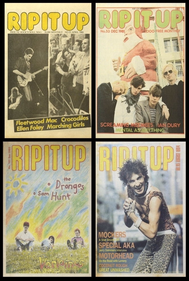 Some of the many Rip It Up covers featuring New Zealand artists. Shows four covers.