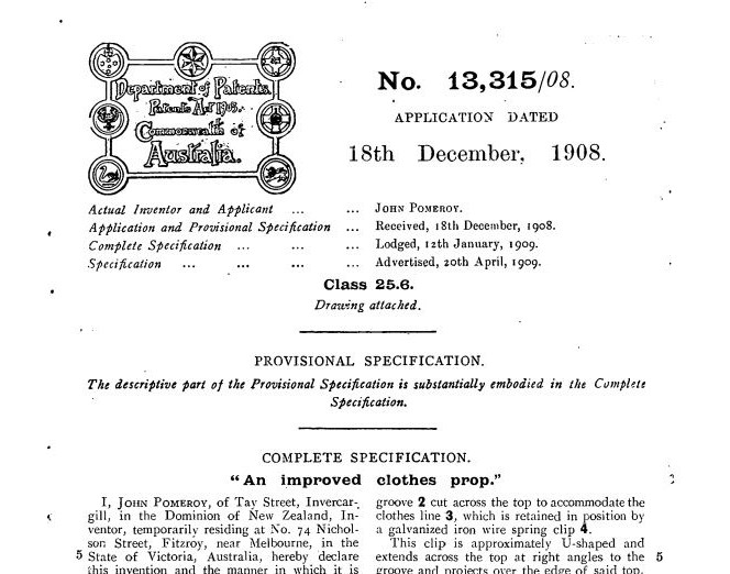 Patent application for John Pomeroy's improved clothes prop, dated 18 December 1908