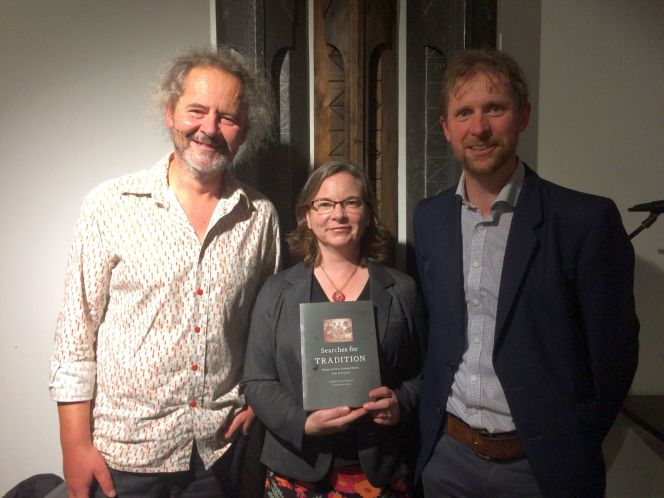 Fergus Barrowman (Victoria University Press), with book co-editors Samantha Owens, and Michael Brown.