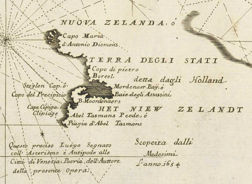A crop of Vincenzo Coronelli's map of the Pacific ocean.
