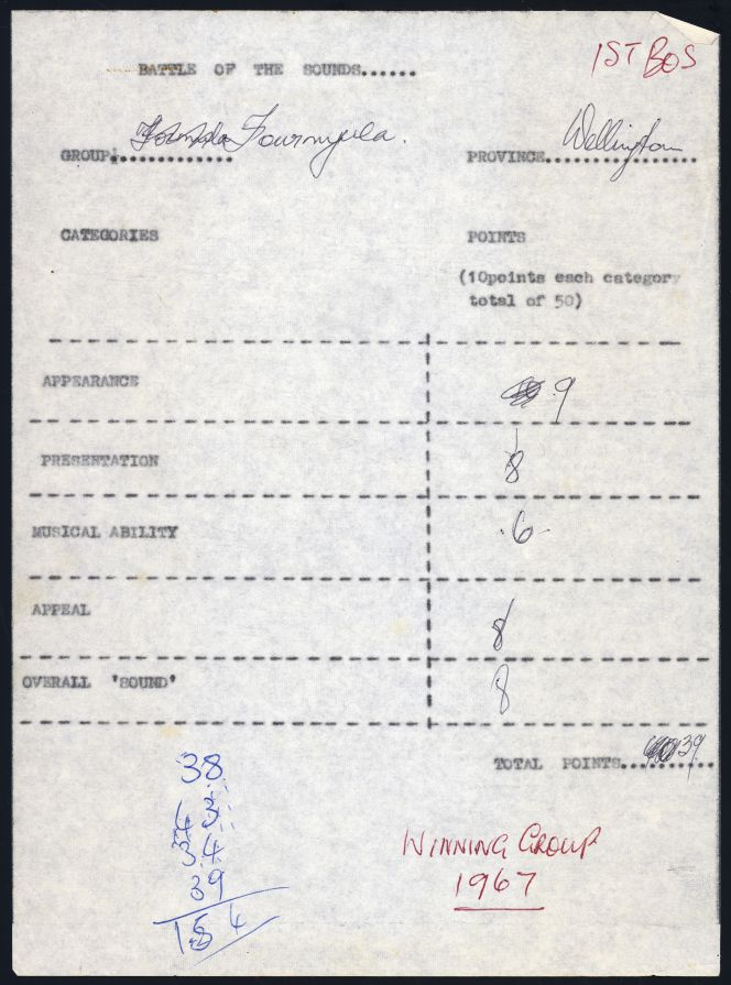 "One of four judges' voting sheets with ""Winning group 1967"" written in Cooper's hand."