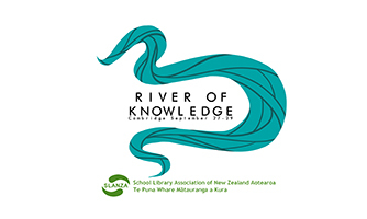 Blue illustration of water curling around the words 'River of knowledge - Cambridge September 27-29' and SLANZA logo underneath