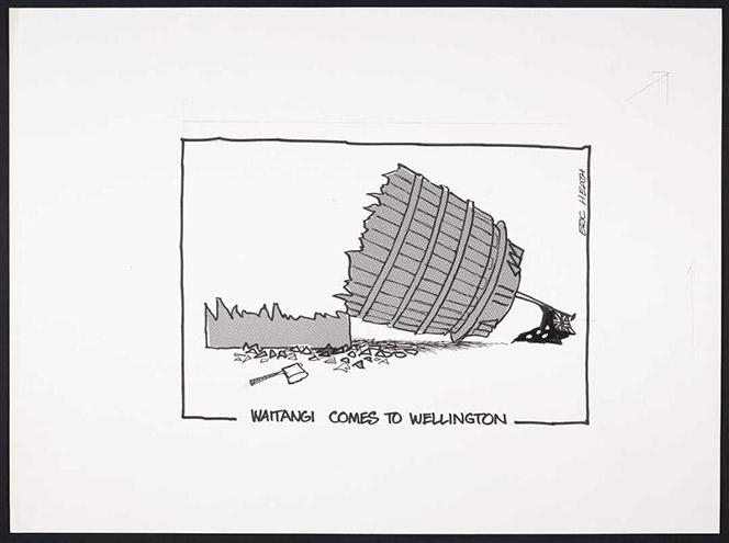 Cartoon of the Beehive cut down.