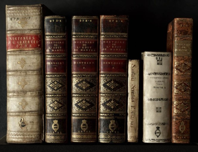 Spines of several books from the rare books collection.