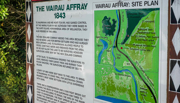 A photograph of the Wairau Affray information board, with text explaining what happened and a map