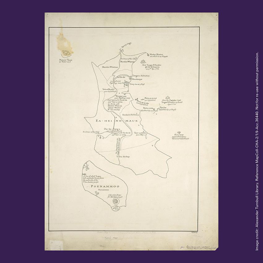 Front of curiosity card CC0006, with an image of Tuki te Terenui Whare Pirau's map