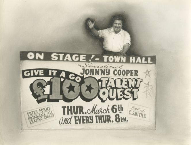 Entrepreneur Johnny Cooper entices contestants and budding artist to his talent quest,1958.